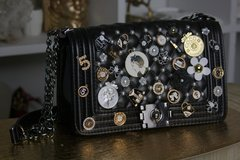 1388 Caviar Le Boy Madam Coco Embellished Brooches Handbag