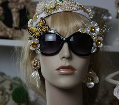 967  Art Nouveau Enamel Flower Crystal Butterfly Pearl Flower Embellished Fancy Shades Sunglasses Eye Wear