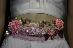 1770 Stunning Vivid Cherubs Angels Baroque Hand Painted Flower Crystal Waist Belt