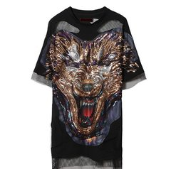 2108 Grunge Punk Wolf Sequin Applique Oversized T-shirt-Dress