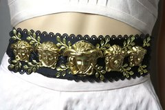2081 Gold Medusa Italian Inspiration Black Waist Belt