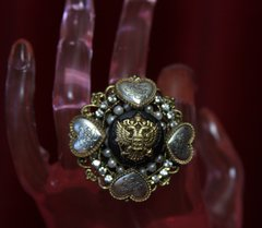 1613 Vintage Chanel Repurposed Button Eagle Ring