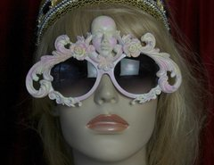 1749 Unusual Art Deco Pink Yellow Face Sunnies