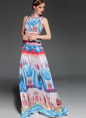 2159 Runway Pastel Cartoon Print Maxi Dress US2-US4