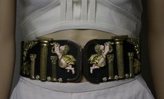 1881 Total Baroque Roman Columns Vivid Faced Cherubs Wide Waist Belt
