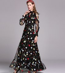 2098 Embroidery 2 Colors Designer Inspired Gown Maxi Dress