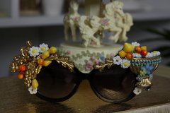 820  Greek Grape Amphora Lemon Embellished Spring Unusual Sunglasses