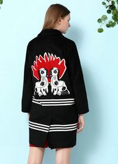 2112 Dog Applique Designer Inspired Wool Blend Coat Outwear