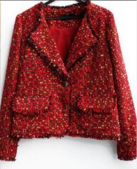 1631 Madam Coco Tweed Red Elegant Blazer