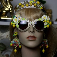 1365 Designer Inspired Fold Filigree Lemon Flower Impressive Fancy Sunglasses Shades Eye Wear UV 400