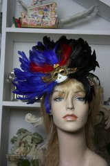 1282 Venetian Mask Feather Impressive Headband