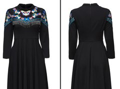 1782 Embroidery Butterfly Designer Inspired Black Mini Dress