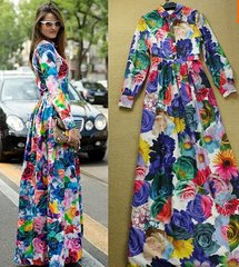 8 Russian Style Floral Print Maxi Dress