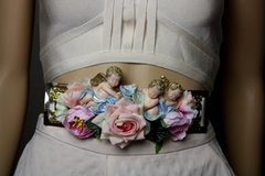 1756 Baroque Vivid Cherubs Pale Velvet Rose Embellished Belt