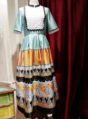 2104 Designer Inspired Runway Vintage Style Print Mid Cuff Dress
