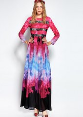 2091 Designer Tie-Dye Maxi Dress Gown