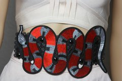 2078 Designer Inspired Massive Snake Applique Corset Waist Belt