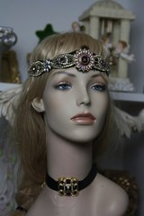 1594 Repurposed Chanel Button Velvet Choker