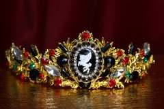 2122 Set Of Baroque Unicorn Crystal Tiara Crown+ Earrings