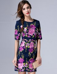 2070 3 Colors Floral Embroidery Bright Mini Dress