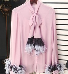 1096 3 Color Elegant Bow Feather Blouse US2-US4