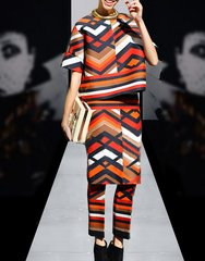2173  High- End Runway Geometry Print Bright Triple Set