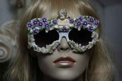 210 Amazing Baroque White Architect Cherub Purple Flowers Fancy Sunglasses Eye Wear