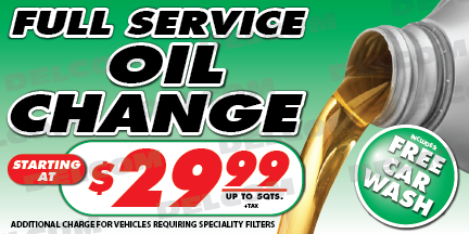 Full Service Oil Change Banner Price Free Car Wash