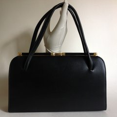 Black Faux Leather Rockabilly 1960s Vintage Handbag With Black Fabric Lining