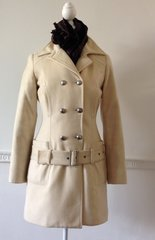 Versace Jeans Couture Ivory Double Breasted Fitted Wool Coat Jacket Size 8 XS