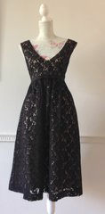 Betty Jackson Black Lace Evening Occasional A Line Fully Lined Dress Size 14
