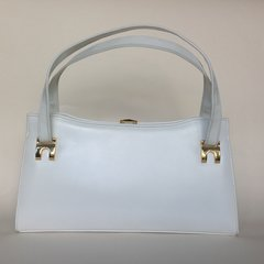 EXCLUSIVE Handbags White 1960s Leather Vintage Handbag Suede Lining Elbief Frame