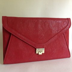 Jane Norman Extra Large Brick Red Textured Envelope Clutch Bag