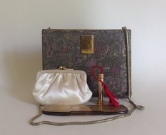 French Silk Chinoiserie 1950s Vanity Compact Vintage Coin Purse, Perfume Bottle & Comb