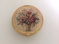 Small Round Tapestry And Gold Mesh Compact Coin Purse   With Mirror Circa 1950s.