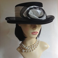 Ladies Black & White Dress Hat Wedding Derby Church Races Satin Ribbon Rosette