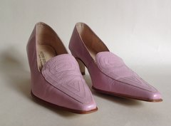 Victor Sebastian Pink Leather Slip On Loafer With Stitch Work Pattern UK 3 EU 36