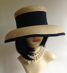 Debenhams Hat Box Natural & Blue Ribbon Detail Audrey Hepburn Style Straw Hat