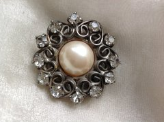 Vintage Diamanté And Faux Pearl Metal Mini Pin Brooch