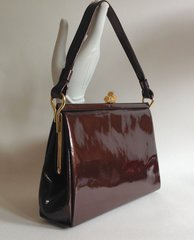 GARFIELD Bronze Patent Leather 1950s Vintage Handbag Suede Lining Elbief Frame