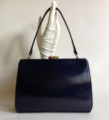 WALDYBAG 1950s Vintage Handbag Blue Calf Leather With Blue Satin Lining
