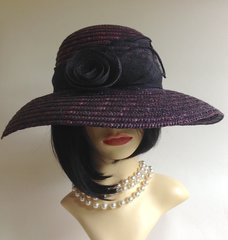 Debenhams Hat Box Mauve & Black Audrey Hepburn Style Straw Hat Flower Bow Detail