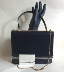 1960s Mod Go Go Blue All Leather Vintage Handbag With Clean Suede Tan  Lining