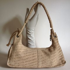 Dadabo Rough Textured Beige Leather Shoulder Bag With Fabric Lining