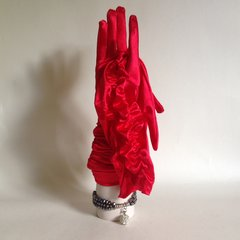 Vibrant Red Polyester 1950s Vintage Opera Gloves Size 7.5