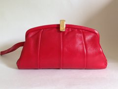 Jane Shilton 1970s Vintage Red Leather Clutch Bag With Black Fabric Lining.