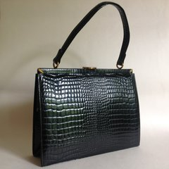 1960s Black Moc Croc Leather Vintage Handbag With A Clean Black Fabric Interior