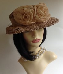 Marks & Spencer  Natural Straw Dress Races Church Wedding Hat  Sold With Faux Pearl Hatpin