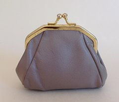 Vintage 1950s Stone Leather Coin Purse With Gold Toned Frame - Unlined.