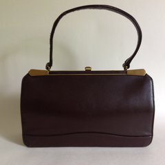 Large 1950s Classic Vintage Handbag Brown Calf Leather Suede Lining
